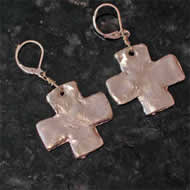 Silver Cross Costume Earrings