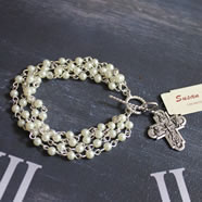 Handcast Silver Cross Bracelet with Multi-row Pearl Links