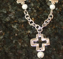 Silver Cross and Pearls Necklace