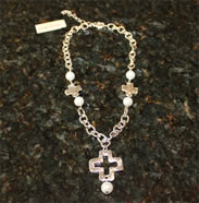 Costume Christian Jewelry - Silver Cross with Pearls