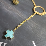 Blue Druzy Cross Necklace - Christian Fashion Jewelry