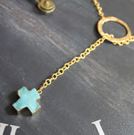 Aqua Druzy Cross Lariot Necklace