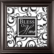 Bless our Home Framed Glass Wall Art
