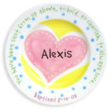 Personalized Christening Plate with Heart