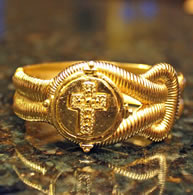 Gold Plated Cross Hinged Cuff - Christian Fashion Jewelry