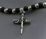 Nail Cross on Black and Silver Beads