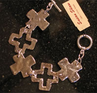 Costume Jewelry Bracelet - Silver Crosses