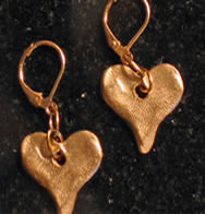 Handcast Gold Heart Earrings