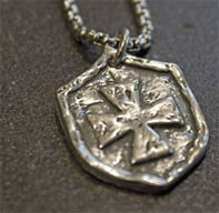 Shield of Protection Sterling Silver Pendant for Him