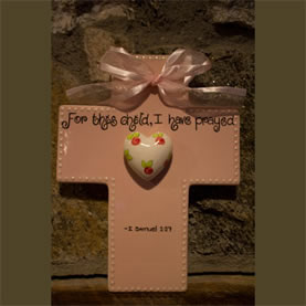 For this child I have prayed Pink Wall Cross