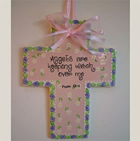 Angels Keeping Watch Ceramic Wall Cross for Baby