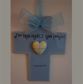 For this child I have prayed Blue Wall Cross from Sue Berk