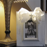 White Baby Frame with Bow and Cross