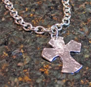 Susan Shaw Handcast Urban Silver Cross Necklace