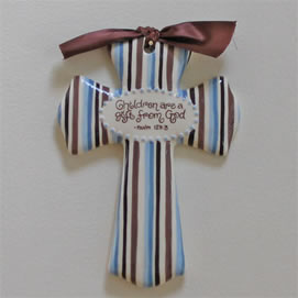 Children are a gift Ceramic blue & Brown Wall Cross