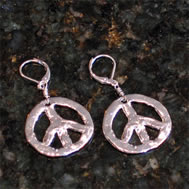 Peace Earrings - handcast Silver