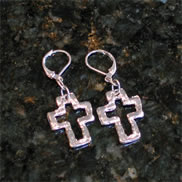 Silver Cross Earrings - Susan Shaw Handcast metal