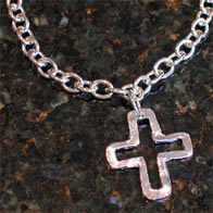 Handcast Silver Cross Necklace