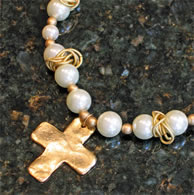 Gold Cross Necklace with Pearls