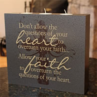 Don't allow the questions of your heart... Triple Wick Scripture Candle
