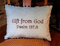Gift from God - Blue & Brown Pillow