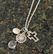 Handcast Silver Open Cross with Coin and Pearl Necklace by Susan Shaw