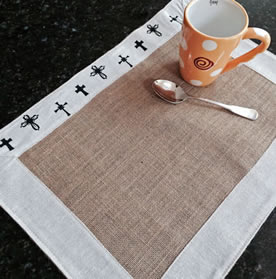 placemat with crosses