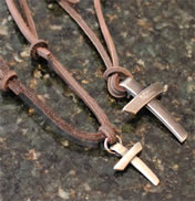 Pewter Cross on Leather Pendant