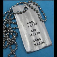 Custom Stampted Dog Tag with Names & Dates