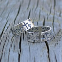 Sterling Cuff Ring - Guide Me; Guard Me