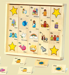 Bible ABC Memory Game, Wooden Game