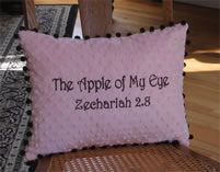 Apple of my Eye - Pink & Brown Minky Pillow