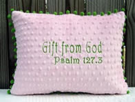 Gift from God - Pink & Green Pillow