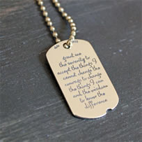 Sterling Silver Dog Tag with the Serenity Prayer