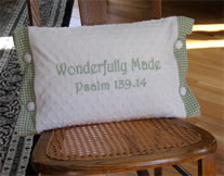 Green Wonderfully Made Scripture Pillow for Boy
