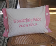 Wonderfully Made - Pink & White Pillow